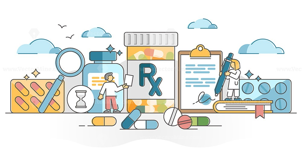 RX as medication pills prescription for treatment from doctor outline concept