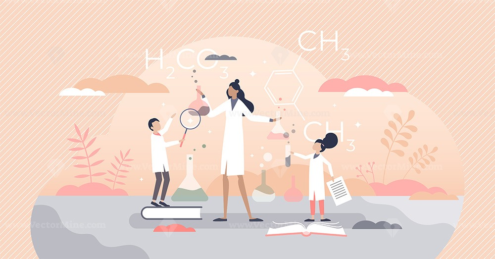 Kids science scene with chemistry teacher in laboratory tiny person concept