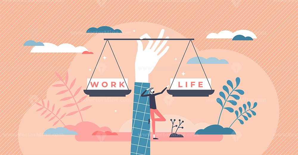 Work life balance as career or family relationship scales tiny person concept
