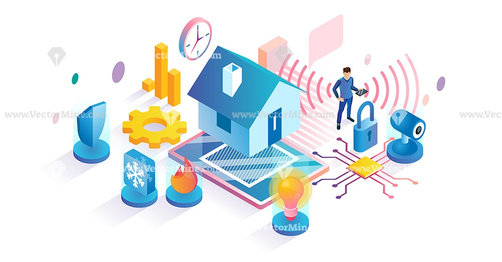 Smart home isometric vector illustration concept