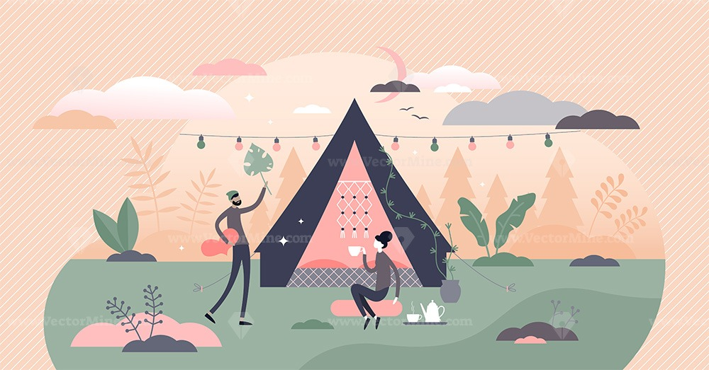 Glamping, camping and outdoor tent romantic activity tiny persons concept