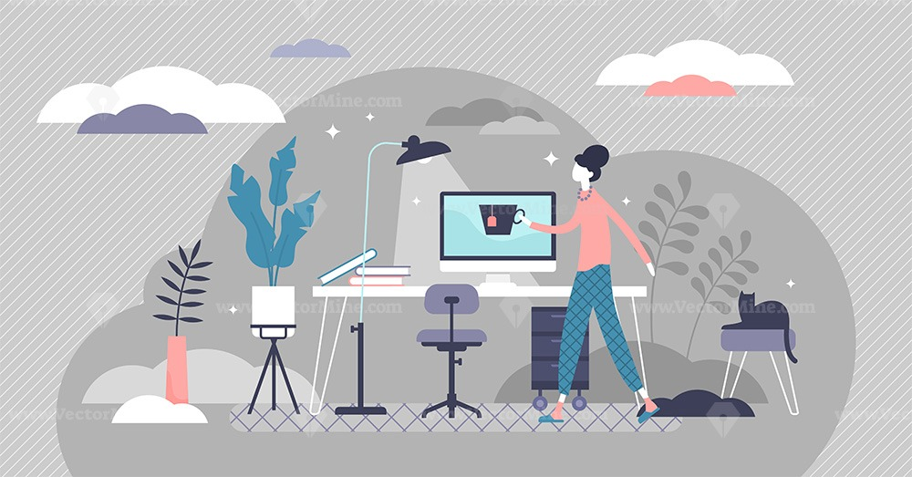 Work from home concept, flat tiny person vector illustration