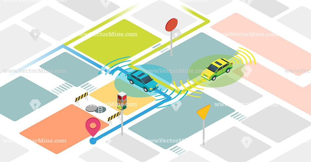 Free self driving cars isometric vector illustration