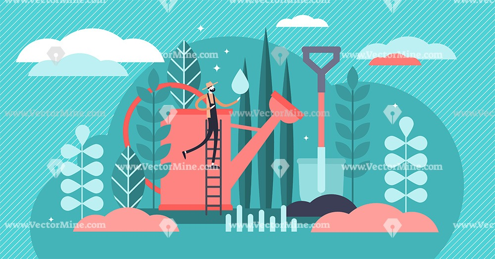 Gardening tiny person concept vector illustration