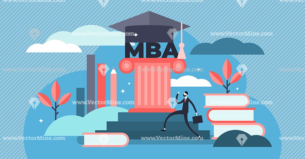 MBA diploma flat tiny persons concept vector illustration