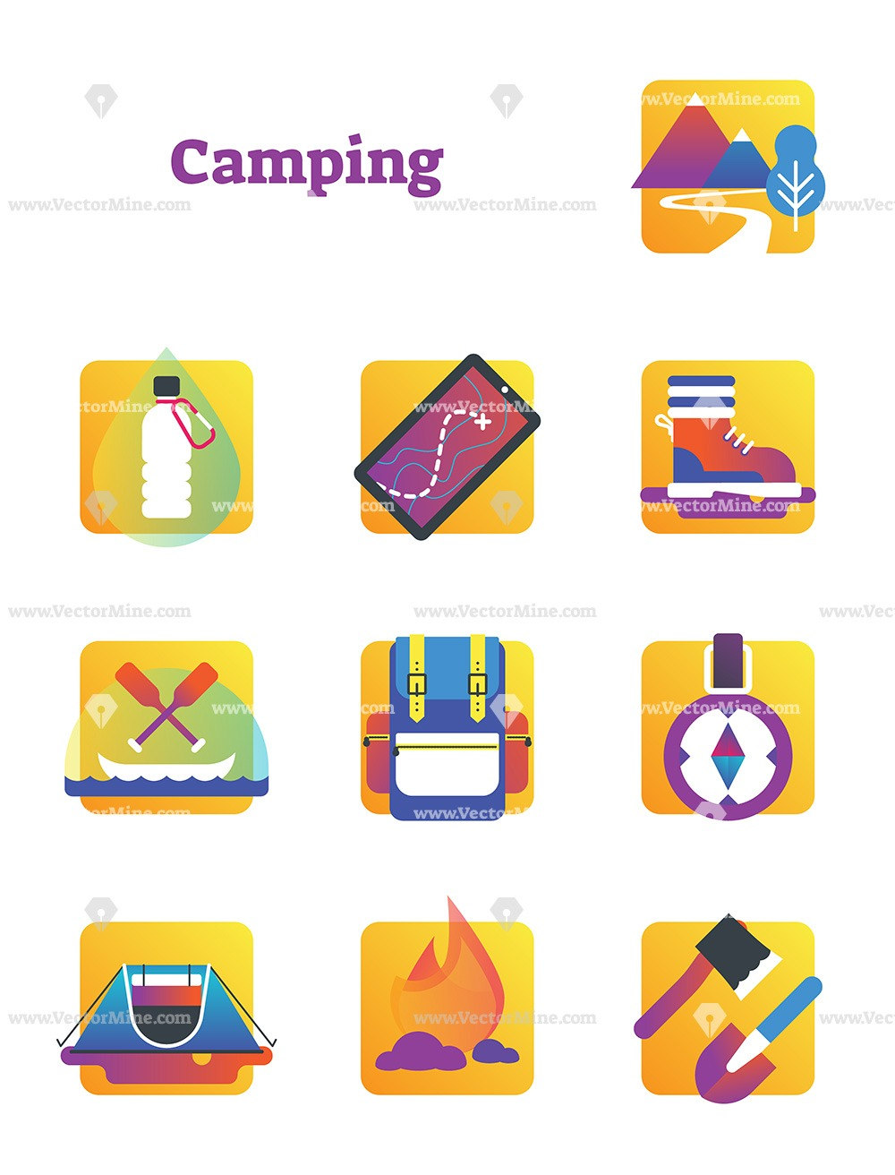 Free nature outdoor camping vector icons collection