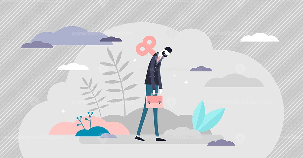 Burnout concept, tiny business person vector illustration
