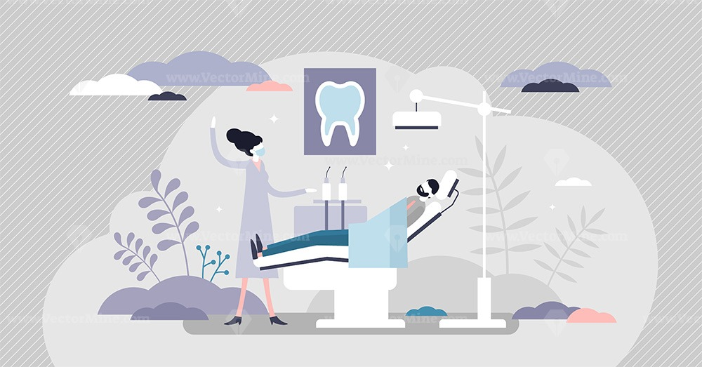 Dentist as patient mouth oral teeth hygiene occupation tiny persons concept