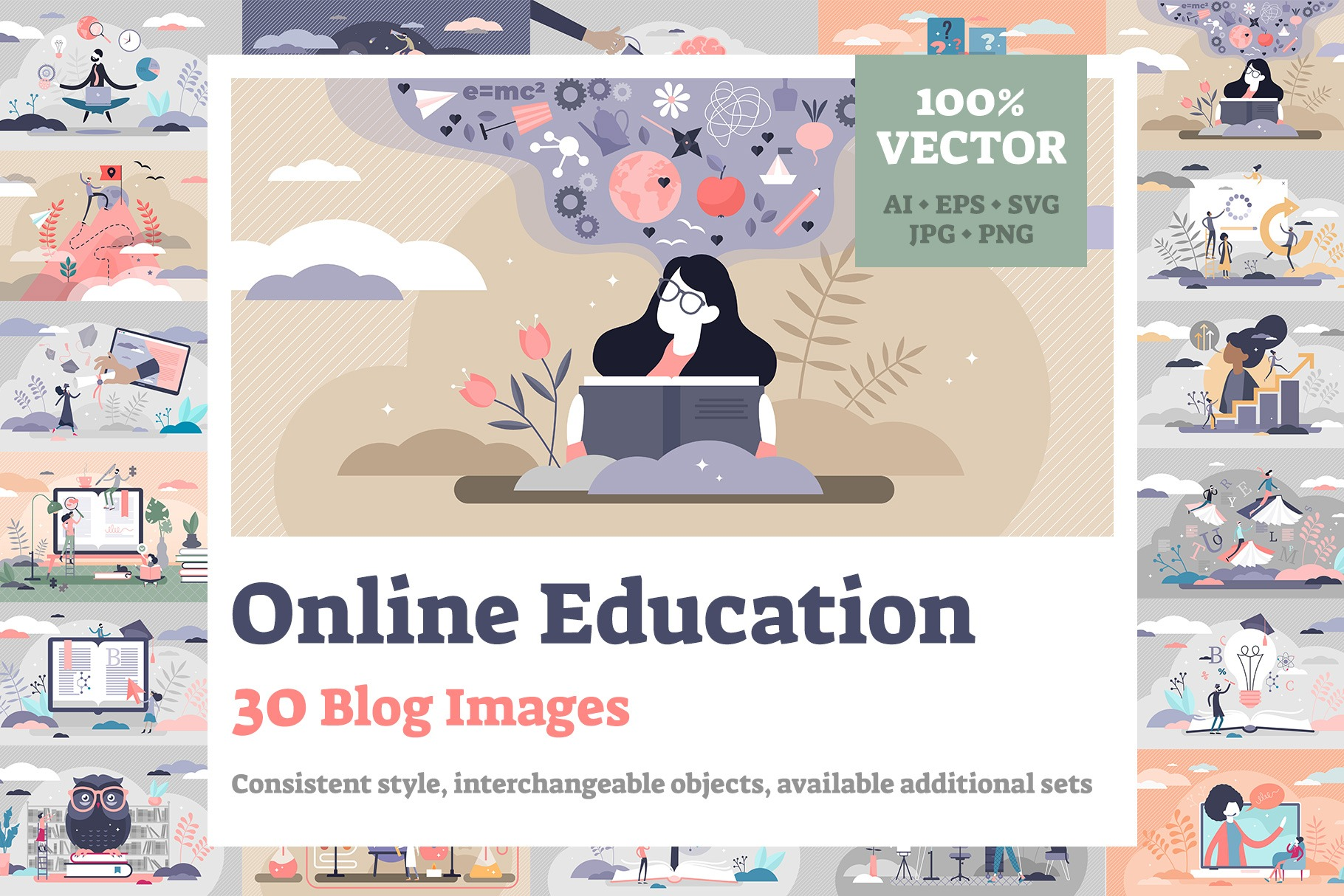 Online Education Blog Images Bundle Vol2 (30 Illustrations)