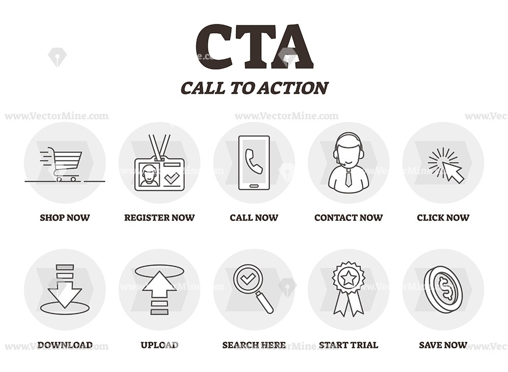 CTA or Call to action outline icons vector illustration