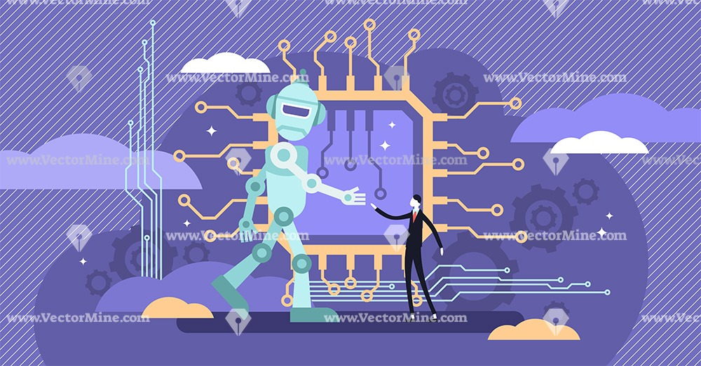 AI ethics social issues concept, tiny person vector illustration