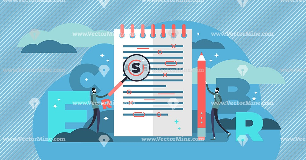 Proofreading flat tiny persons concept vector illustration
