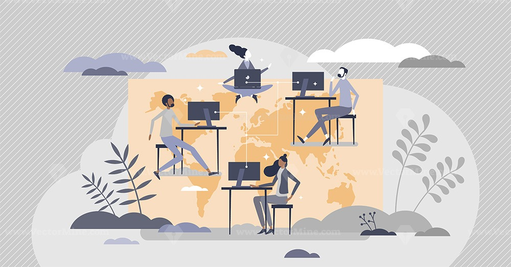Global freelancing with work outsourcing around world tiny person concept