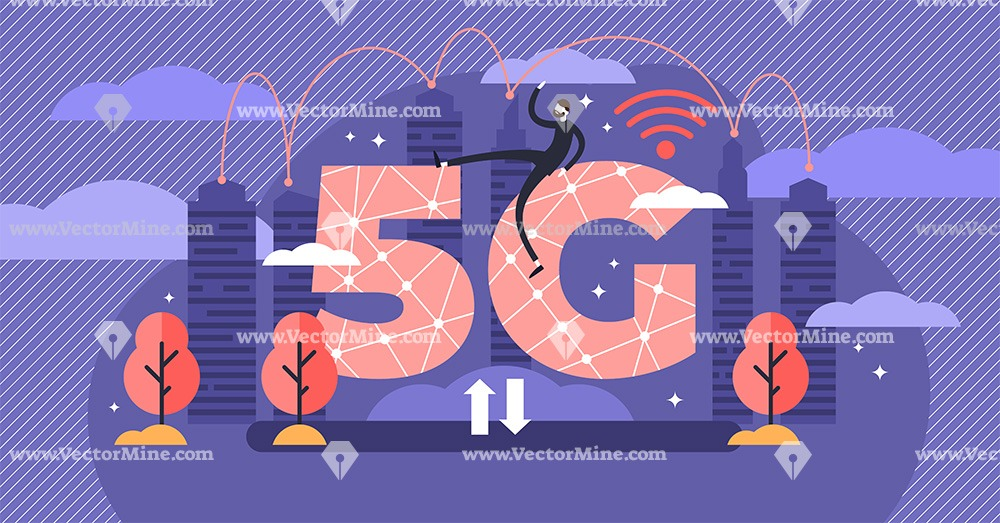 Modern 5G network flat tiny person concept vector illustration