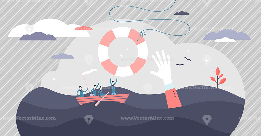 Crisis help vector illustration. Economical business support tiny persons concept