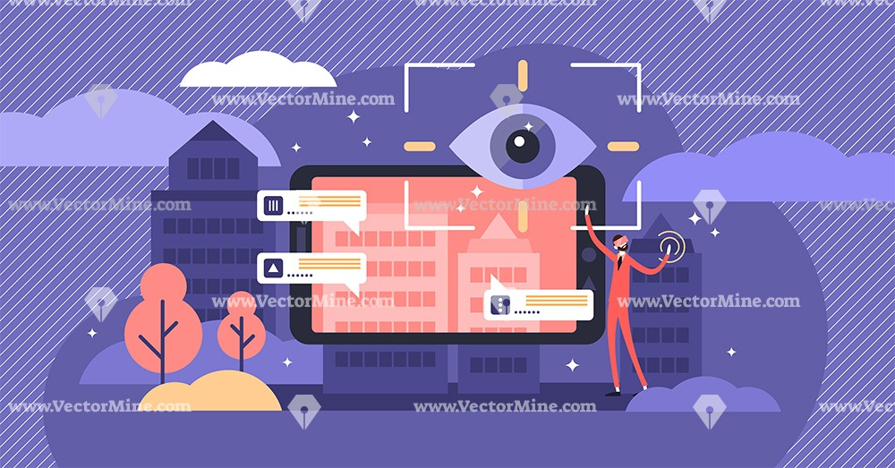 Augmented reality concept, flat tiny person vector illustration
