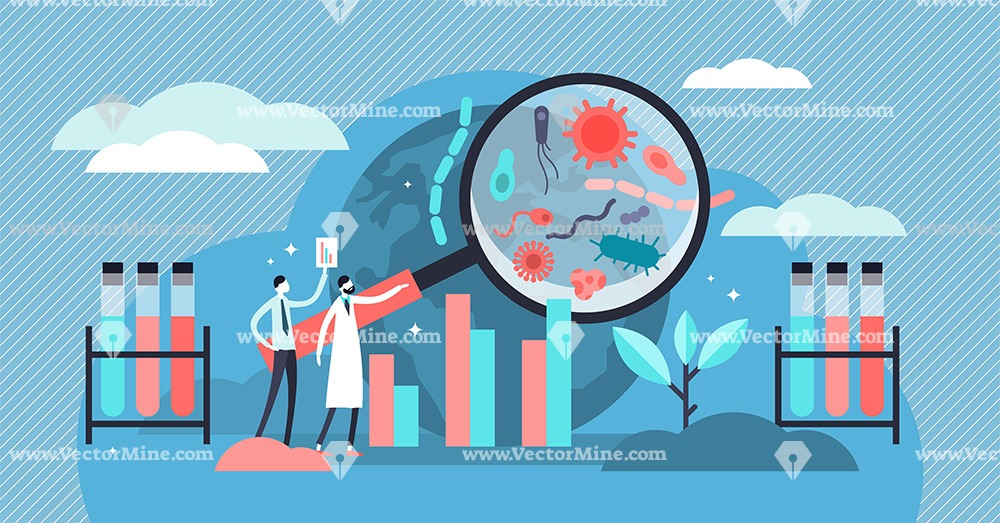 Epidemiology flat tiny persons concept vector illustration