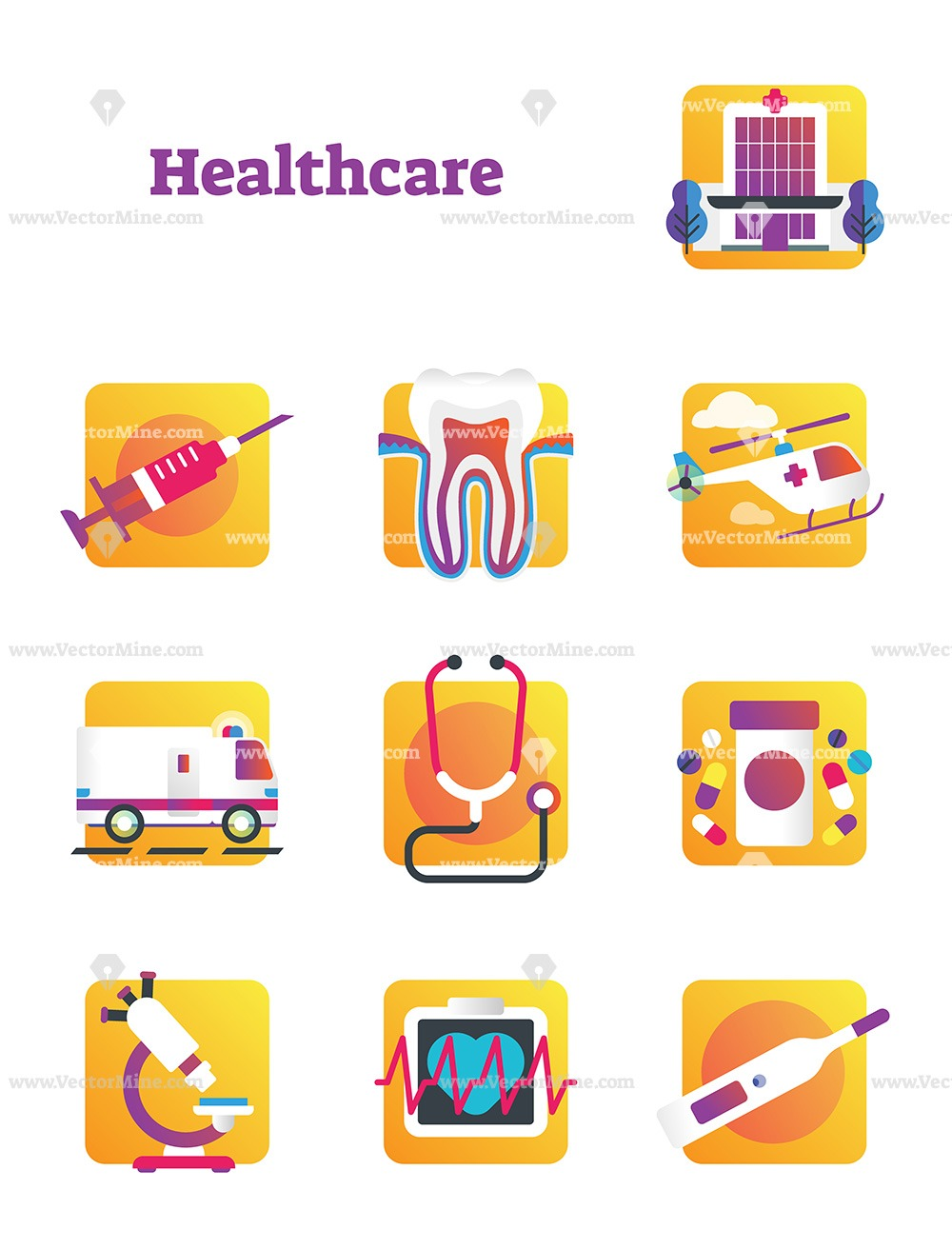Free healthcare and medicine vector icons collection