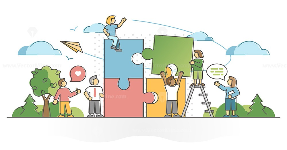 Teamwork partnership help with collaboration and assistance outline concept
