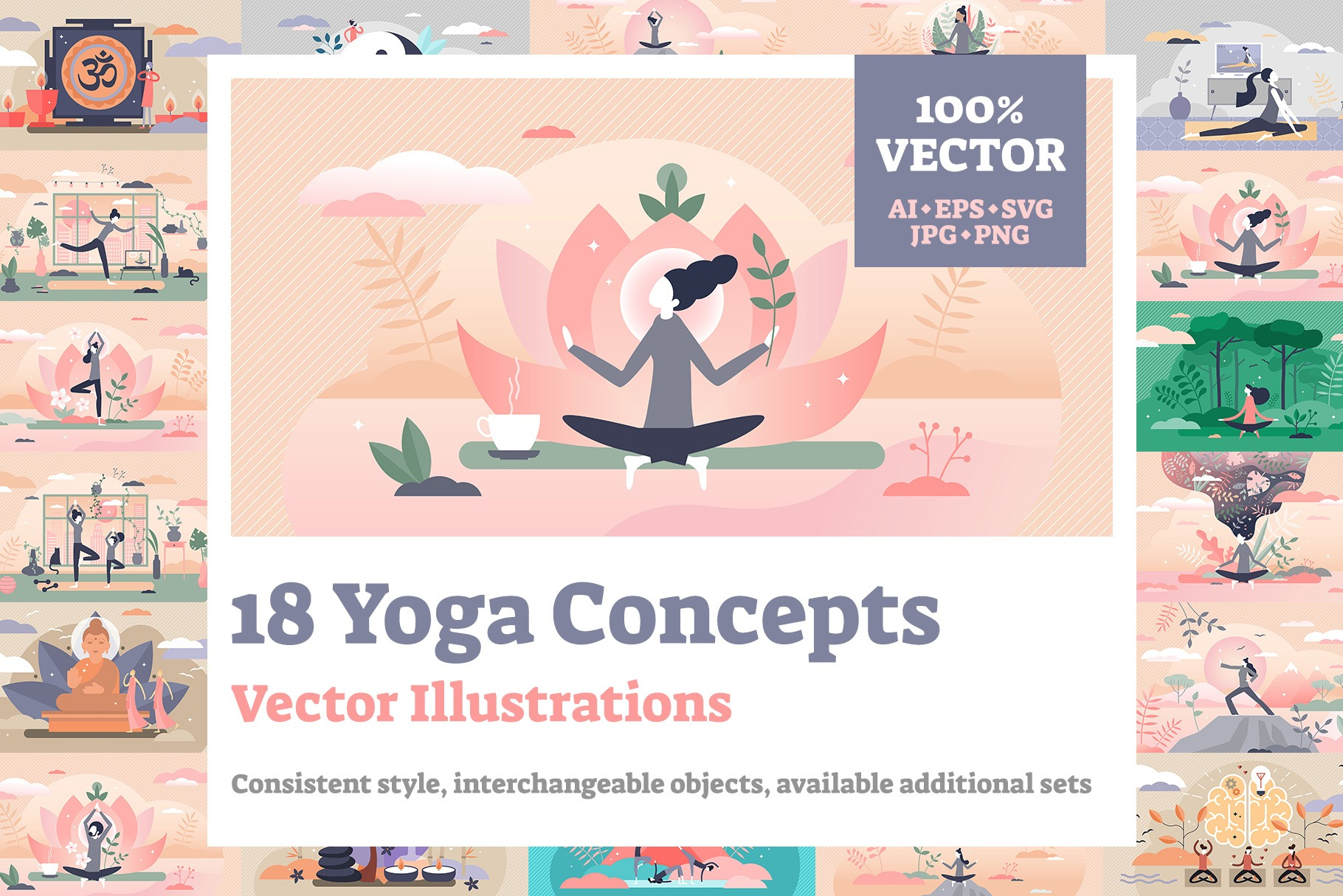 18 Yoga Concept Vector Illustrations Bundle