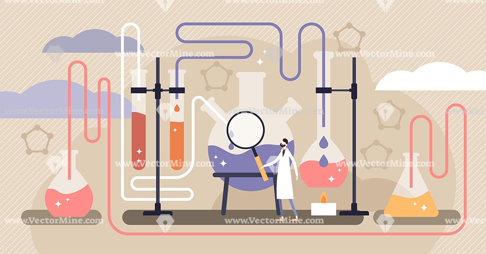 Chemistry science flat tiny person concept vector illustration