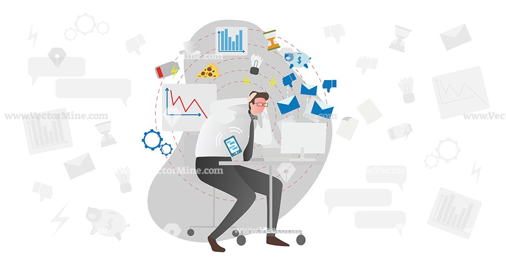 Person workplace stress causes vector illustration