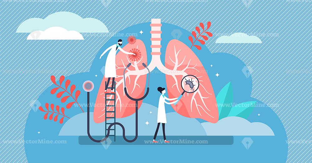 Pulmonology vector illustration, healthcare persons concept