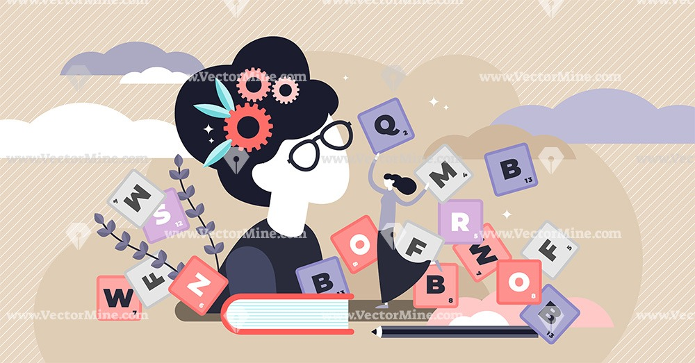 Vocabulary flat tiny persons concept vector illustration
