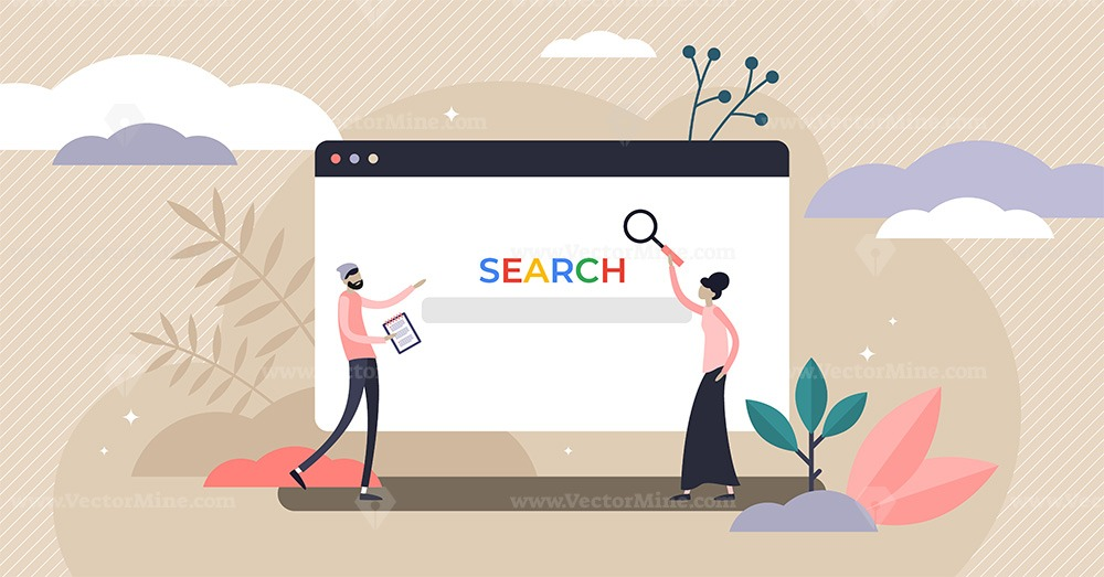 FREE Search SEO marketing and keyword research concept vector illustration
