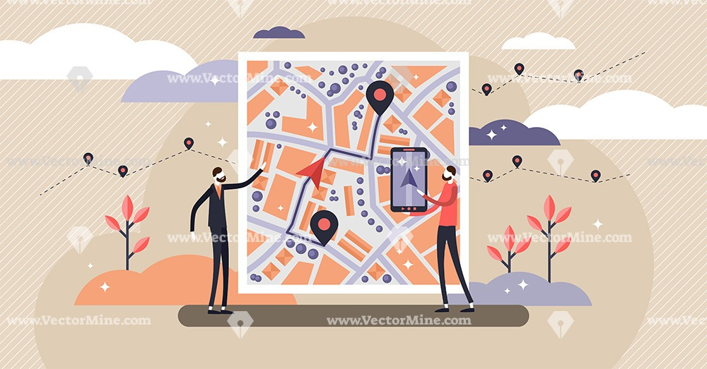 GPS navigation concept, flat tiny persons vector illustration
