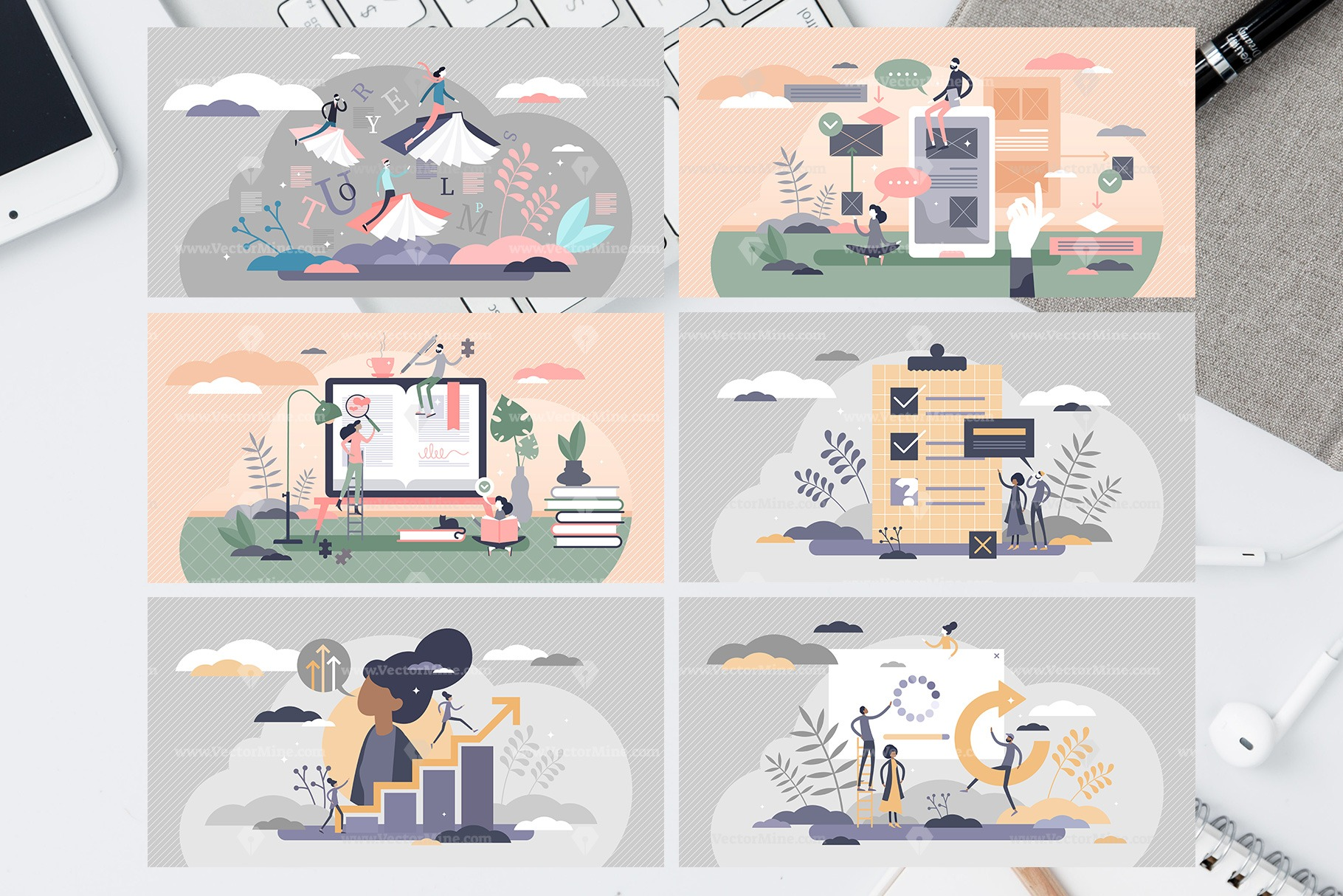 Online Education Vectors Bundle Vol2 (30 Illustrations)