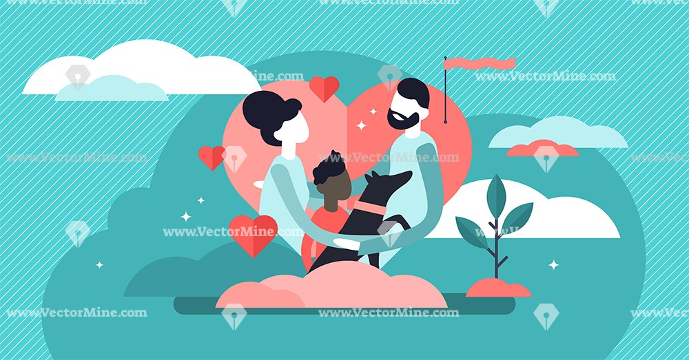 Adoption concept flat tiny persons vector illustration