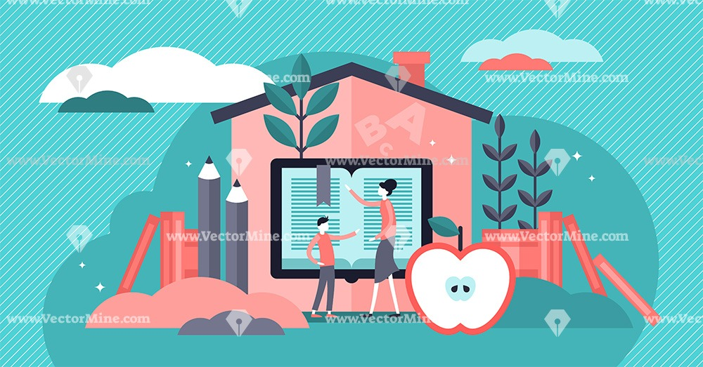 Homeschooling flat tiny persons concept vector illustration