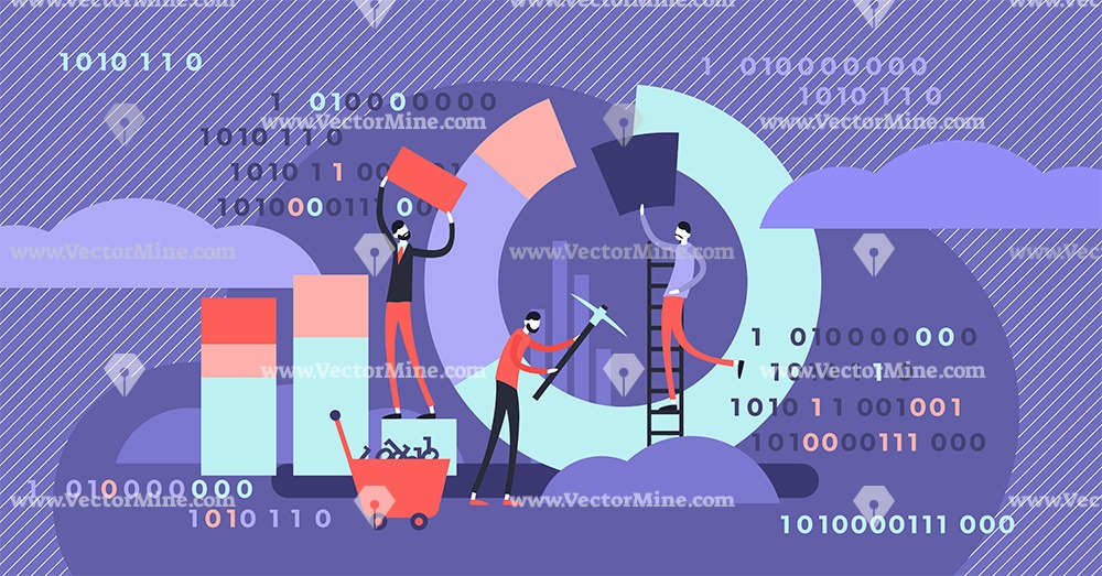Data mining concept tiny persons vector illustration