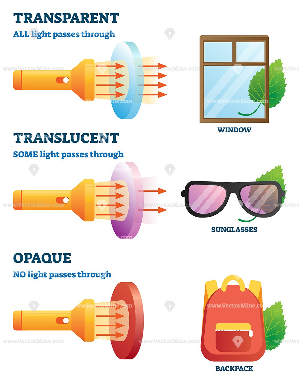Transparent, translucent or opaque properties explanation vector illustration