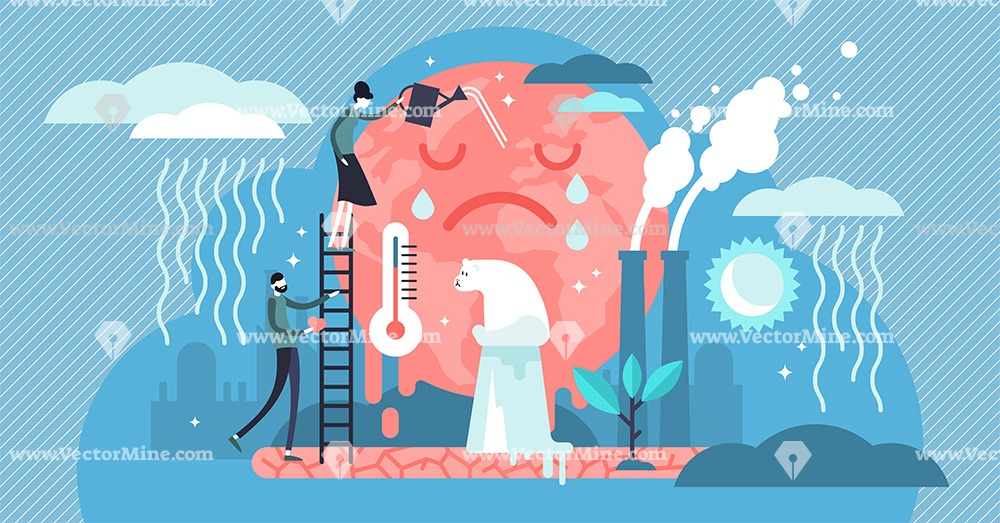 Climate change tiny person concept vector illustration