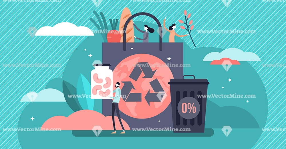 Zero waste movement tiny persons concept vector illustration