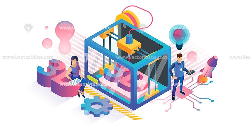 Isometric plastic 3D product printing technology concept vector illustration