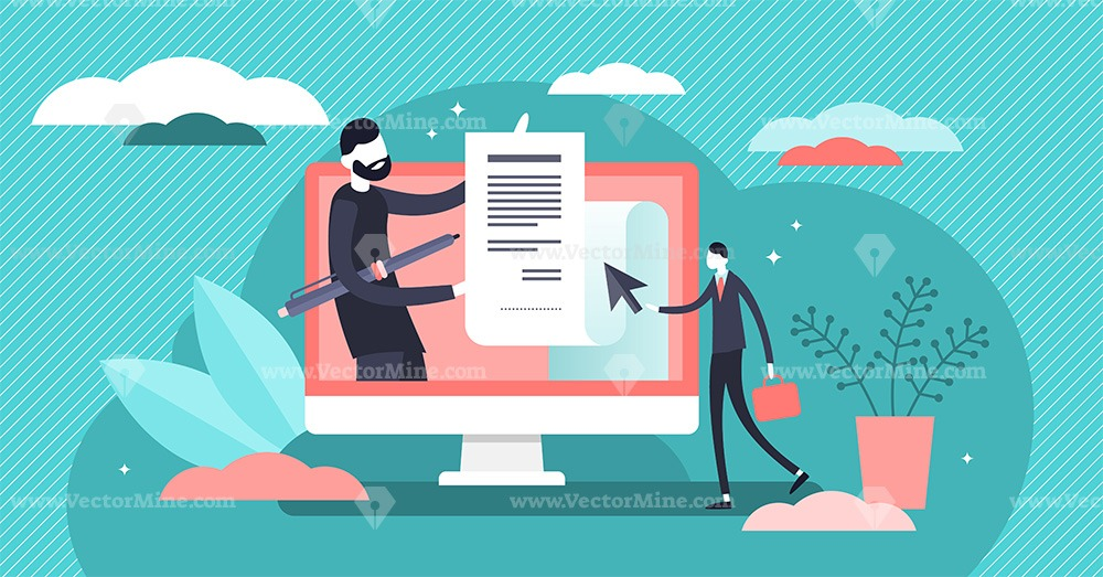 Electronic contract concept vector illustration