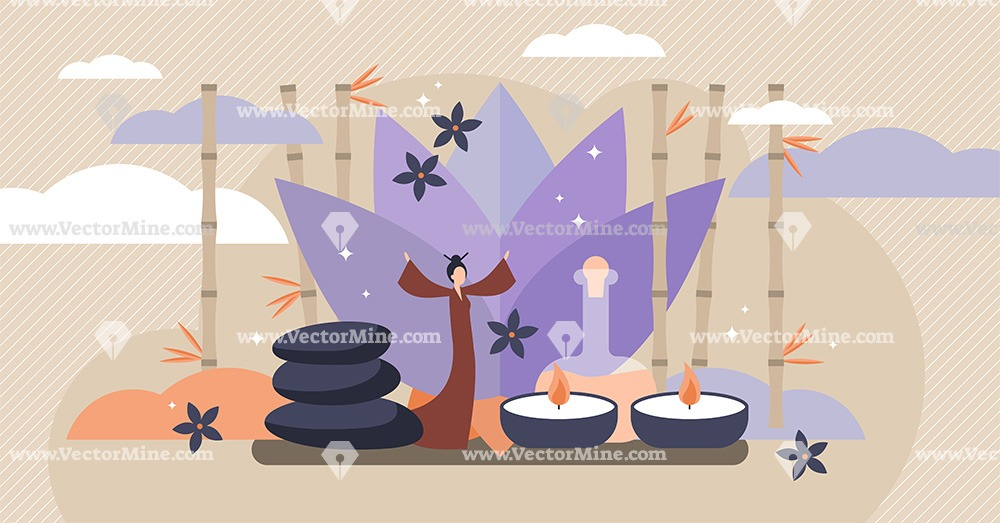 Asian healing flat tiny person concept vector illustration