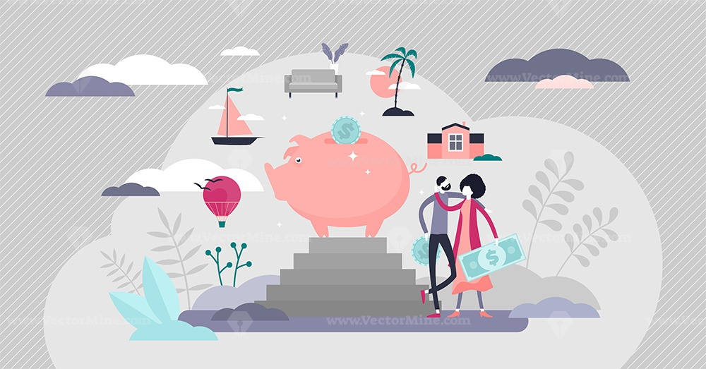 Budgeting plan and money saving flat tiny person concept vector illustration