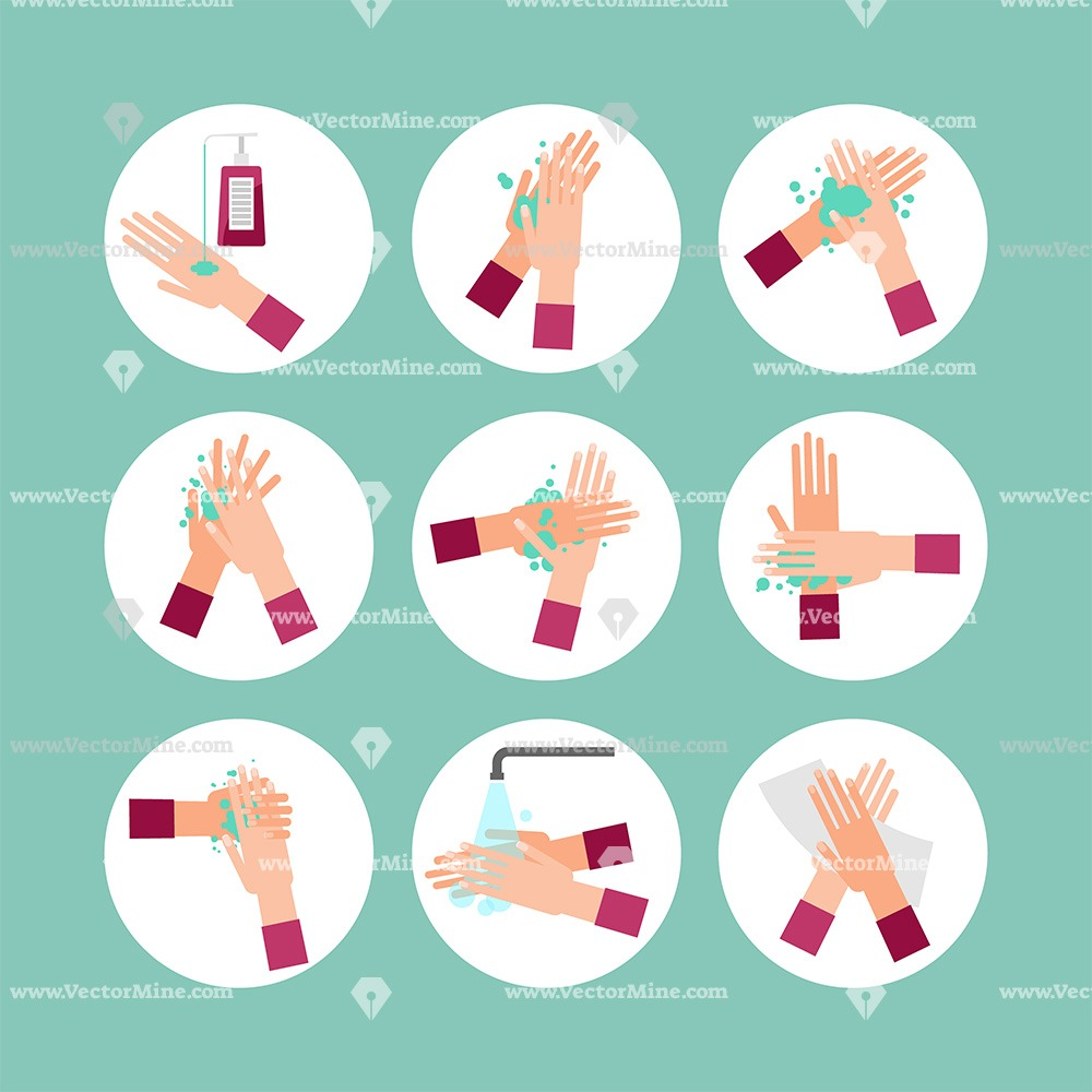 Free washing hands vector illustration set