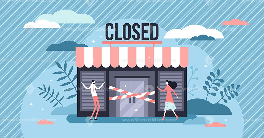 Closed business concept vector illustration