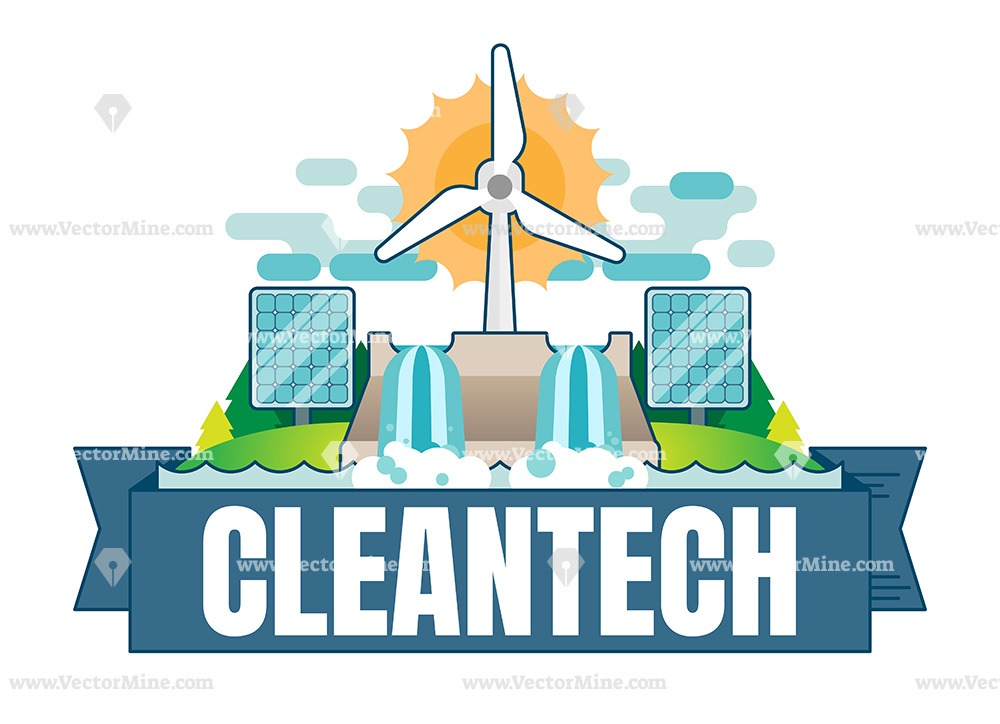 Free Cleantech concept vector badge illustration