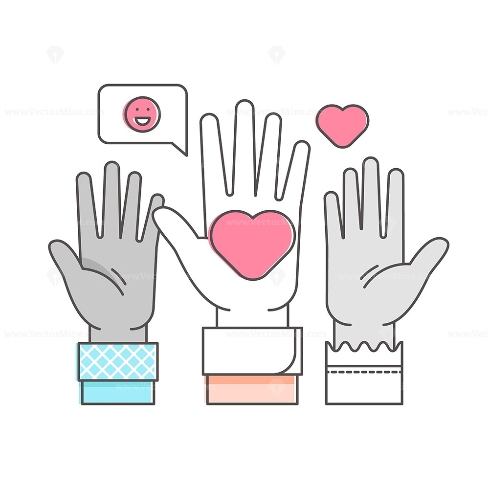 FREE volunteer raised hands outline concept vector illustration