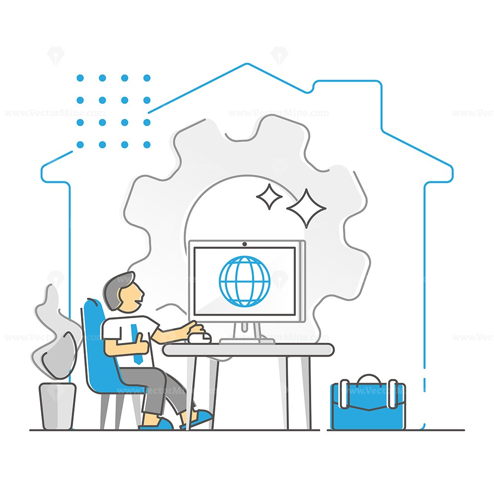 Remote work from home to take distance from office monocolor outline concept