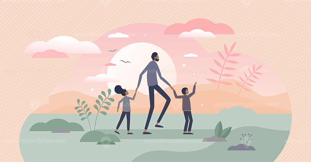 Fatherhood kids caring as dad and children family model tiny persons concept