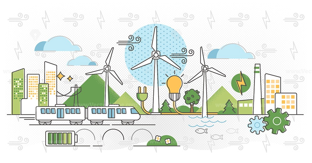 Wind energy vector illustration