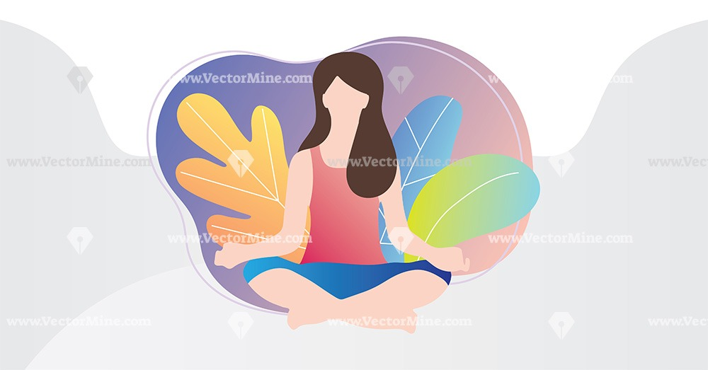 Free relaxation yoga concept vector illustration