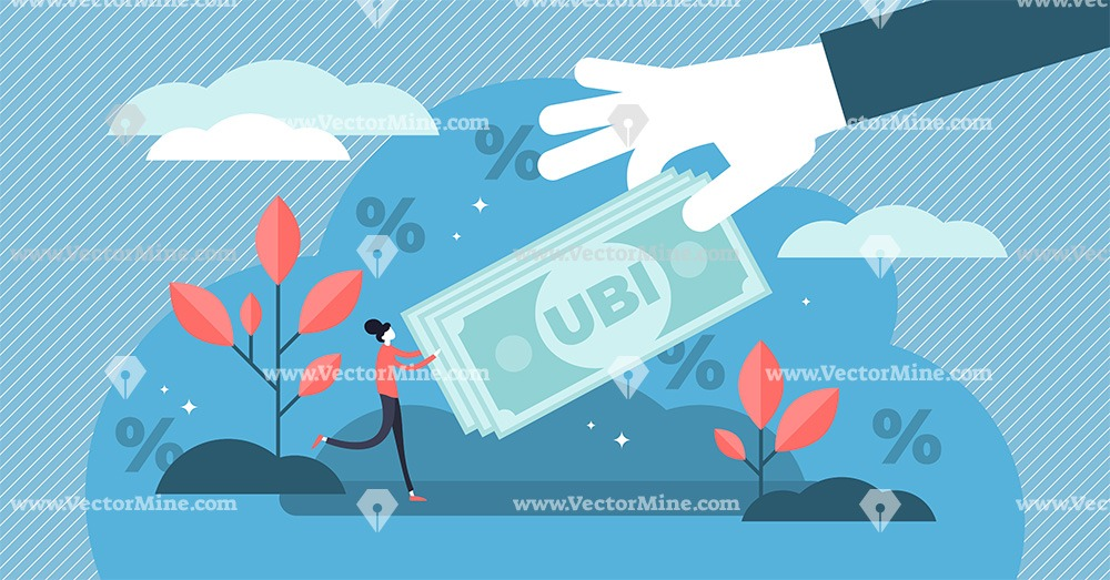 Universal basic income flat tiny persons concept vector illustration